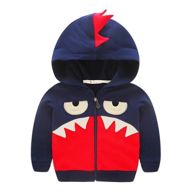 Roupa do bebê Moletom Com Capuz Zip Up Hoodies das Crianças Por Atacado 100% de Algodão Dos Desenhos Animados Tubarão Cardigan Camisolas