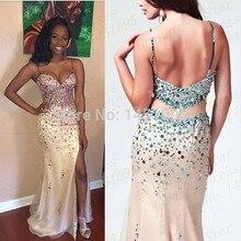 Nach Maß Sexy Schatz-hülle Perlen Abendkleider Kristall 2015 Champagner Prom Kleider Bodenlangen Plus Size Abendkleid