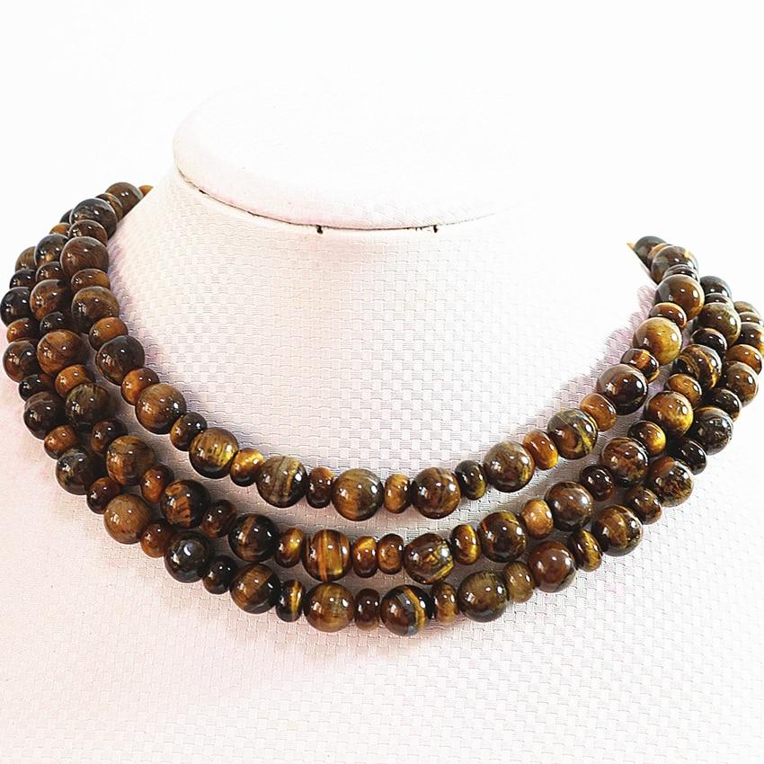 Pierre de tigre naturelle de mode 10mm perles rondes de charme 5x8mm rondelle de boulier entretoises bricolage collier à longue chaîne 50 pouces B726