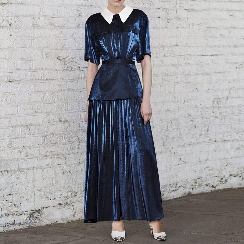 높은 품질 새로운 패션 2019 디자이너 활주로 맥시 드레스 여성 짧은 소매 피터팬 칼라 프릴 롱 드레스-에서드레스부터 여성 의류 의  그룹 1