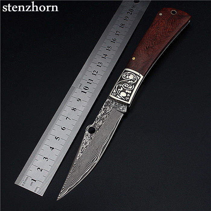 Stenzhorn New Arrival Knives High Quality Outdoor Folding Knife Self-defense Damascus The Hardness Saber Field Survival Fruit stenzhorn new goods wei explorer outdoor small straight knife self defense survival camping with high hardness for sharp fruit
