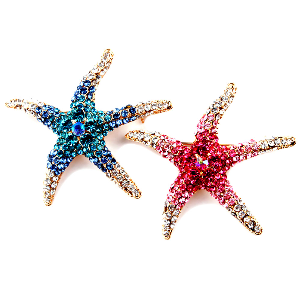 Factory Direct Sale Blue and Red AB Crystal Rhinestones Pave Setting Starfish Brooch Pins for Women