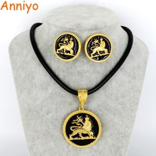 Anniyo New Ethiopian Lion Pendant and Ropes Earrings Gold Color Africa Eritrea Ethnic Lions Jewelry Set For Women #062406