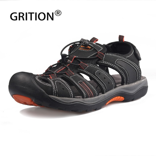 GRITION Men Sandals Summer Male Beach Shoes Outdoor Leather Big Size Trekking Flat Footwear Casual Handmake Ankle Strap Hiking