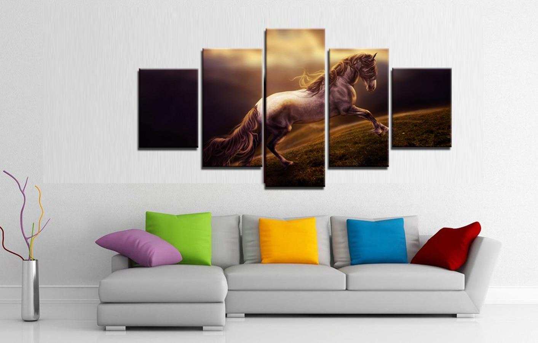 Lukisan Minyak Kuda Gallop Kuat pada Kanvas Rumah & Ruang Tamu - Hiasan rumah - Foto 3