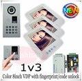 1v3 Brand new Fingerprint 8inch color video intercom door phones outdoor unit waterproof(IP65) DHL free shipping