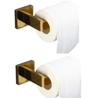 Leyden Wall Mounted 2pcs Toilet Paper Holder Set Toilet Accessories Gold 304 Stainless Steel Tissue Holder Bathroom Accessories