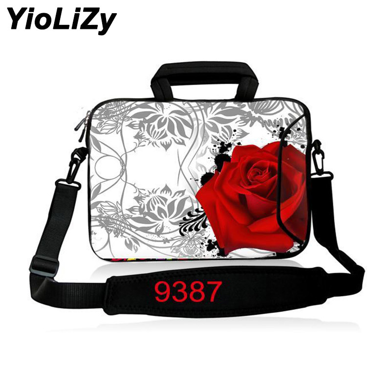 print rose 10 12 13.3 14 15.6 17.3 inch women Laptop Shoulder Bag men Ultrabook Messenger Bag Handbag Notebook Sleeve SB-9387