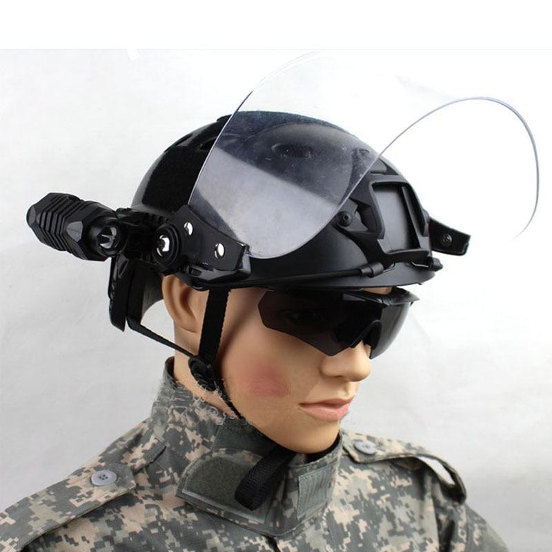 Image 5 - Outdoor Tactical Fast MICH AF Helmet Vintage Durable Windscreen  Anti Riot Lens Guide Rail Connected Mask CS Face Protective  lensHelmets