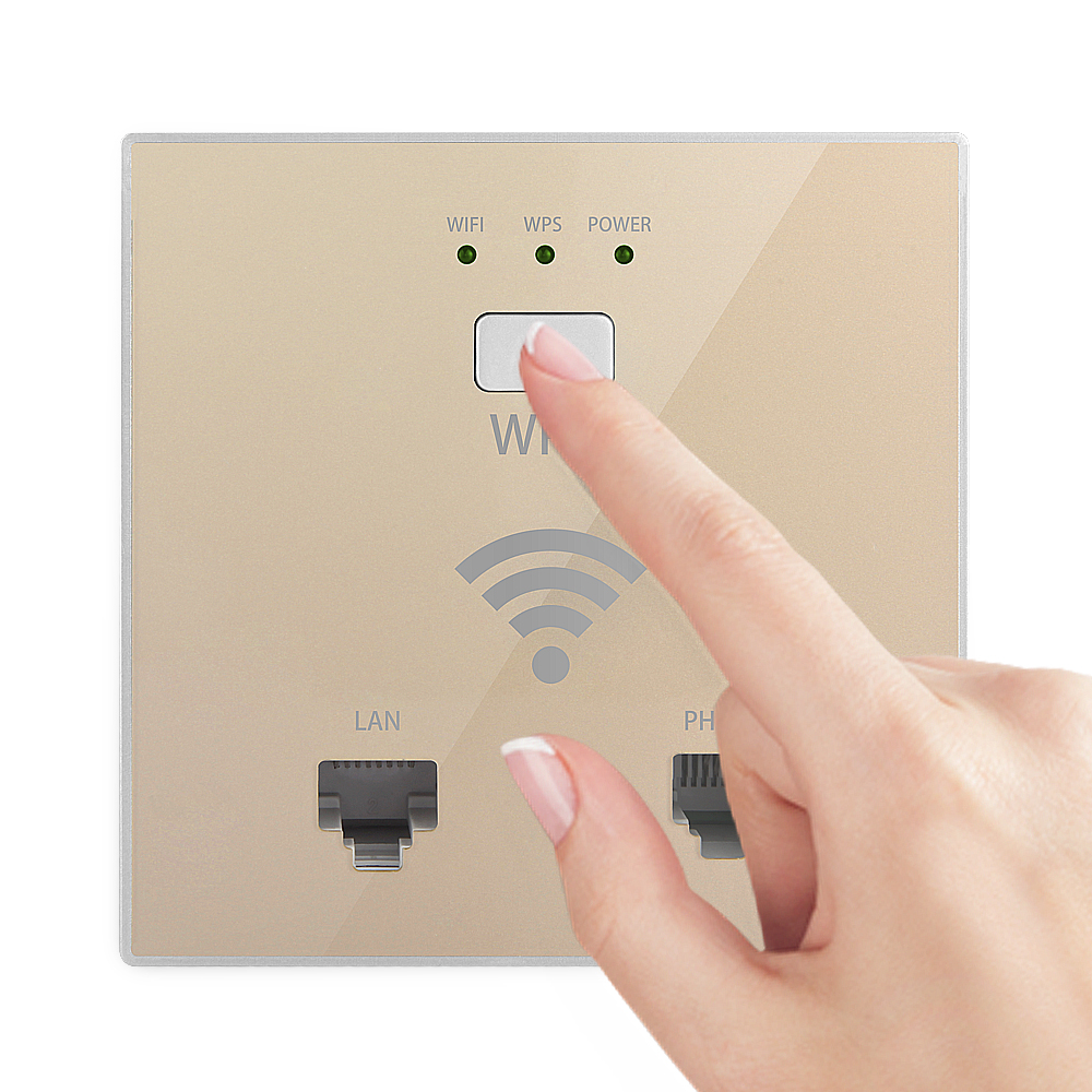 Newly 300Mbps in Wall WiFi Access Point Wireless Socket AP for Hotel WiFi Project Support AC Management RJ45 RJ11 WPS Encryption