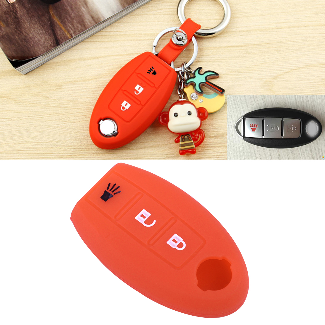 beler 3BTN Remote Key Fob Case Shell Silicone Cover For Nissan Leaf Juke 2011 2012 Murano Rogue Pathfinder 2008 2009 2010 2011