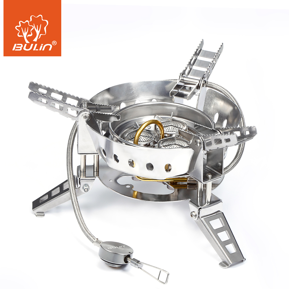 BULin BL100-B17 Outdoor Camping Big Power Gas Stove Windproof Portable Split Gas Burner for Outdoor Cooking BBQ Camping Hiking bulin bl100 b15 mini portable outdoor gas stove foldable camping split gas burner camping cooking
