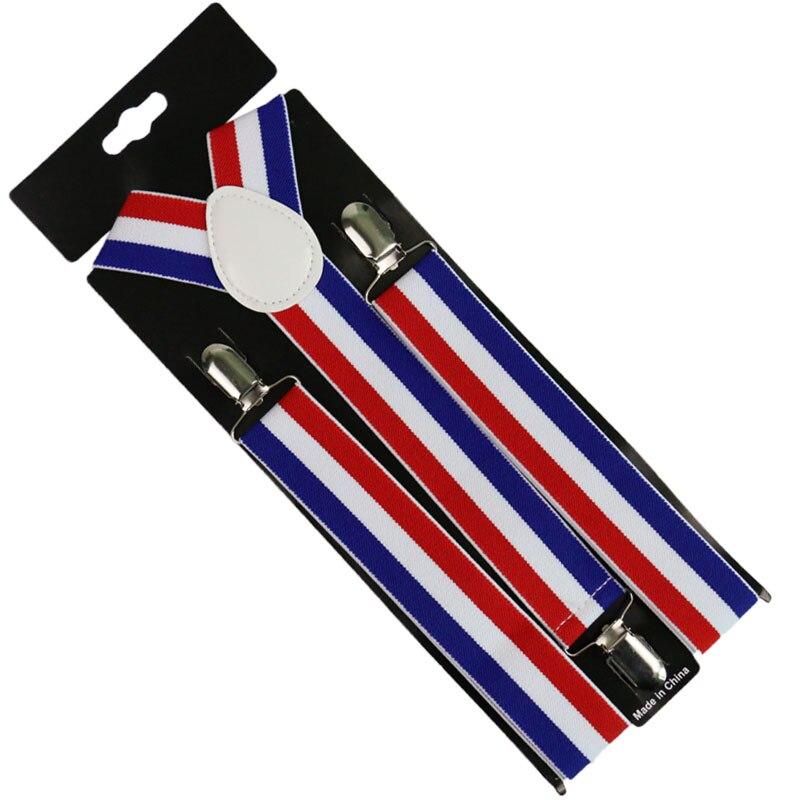 Winfox Mens Women Suspender 3.5cm Wide Navy Red White Suspenders 3 Clip-on Y-Back Braces Elastic Suspender