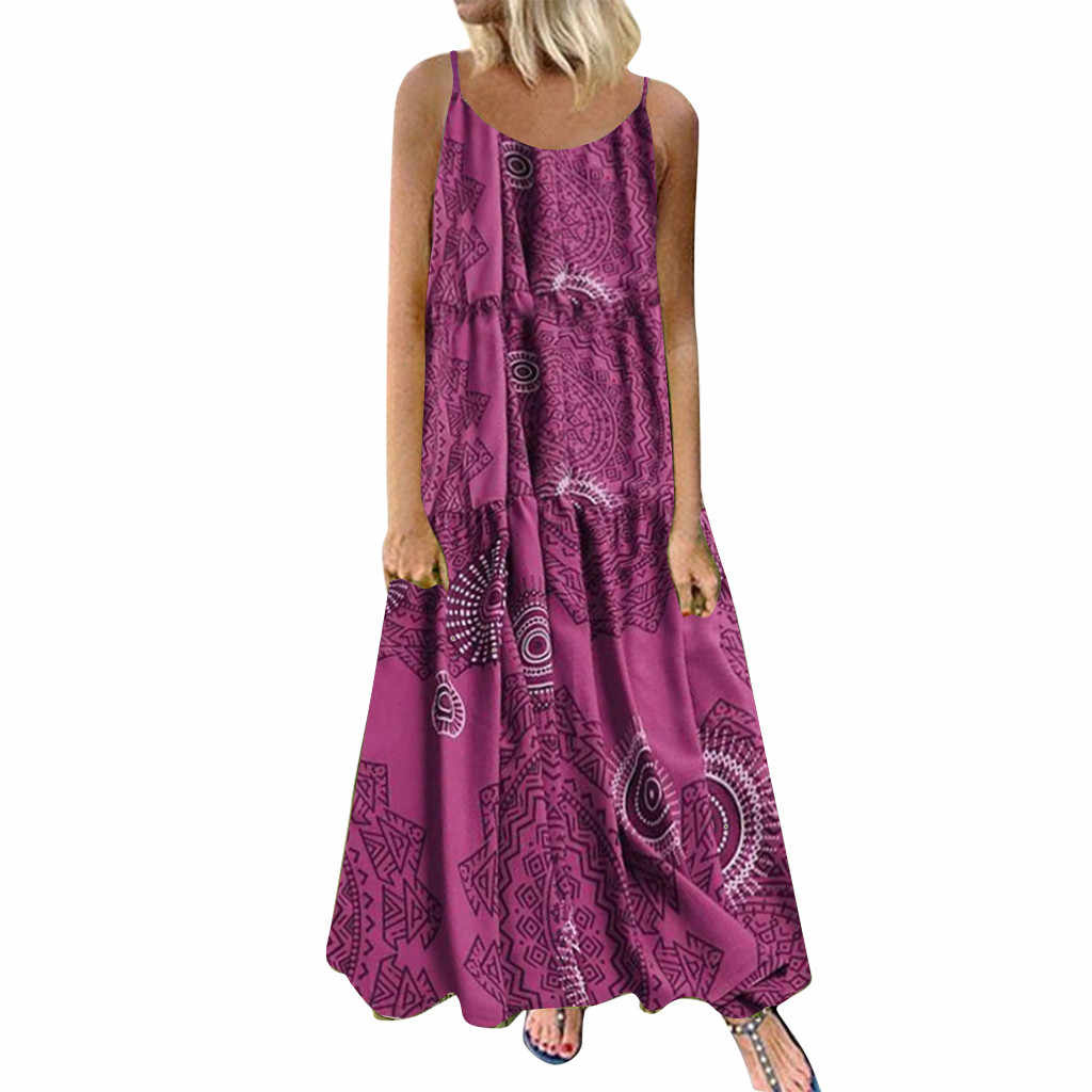Women Plus Size Maxi Dress Bohemian Floral Print Long Dresses Casual Sleeveless Cotton Linen Ethnic Loose Vestido Mujer Sundress