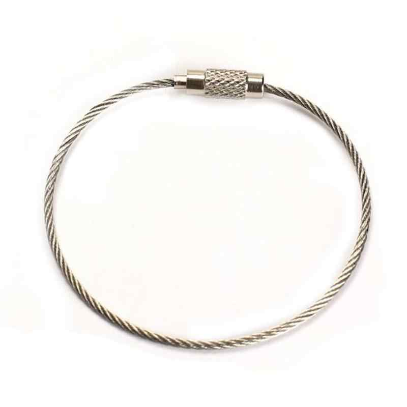 5pcs/lot Cheap Wire Rope Key Chain Stainless Steel Wire Keychain Carabiner Cable Key Ring pendant Loop Outdoor Hiking
