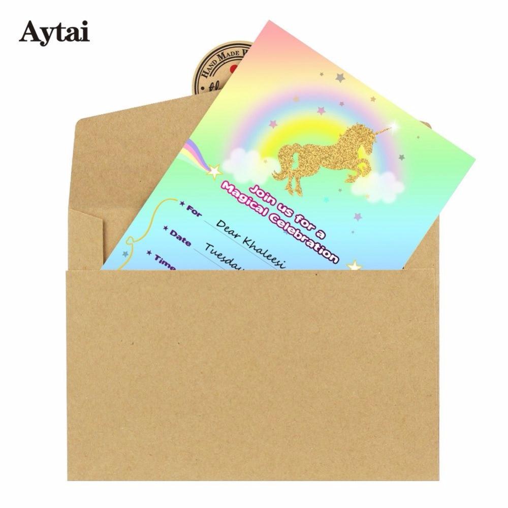 Aytai 100pcs unicorn invitation cards birthday baby shower magical aytai 100pcs unicorn invitation cards birthday baby shower magical unicorn rainbow themed party cards for kids stopboris Images
