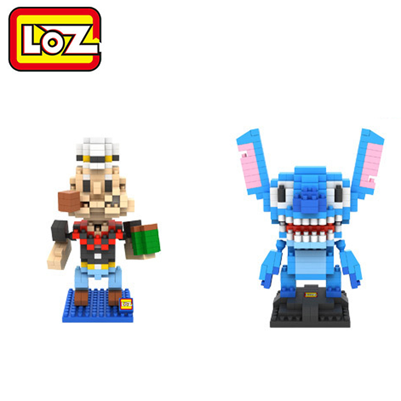 toys plastic toy bricks cartoon kawaii stitch LOZ Diamond Building Blocks Popeye kids toys of children gift educational kids