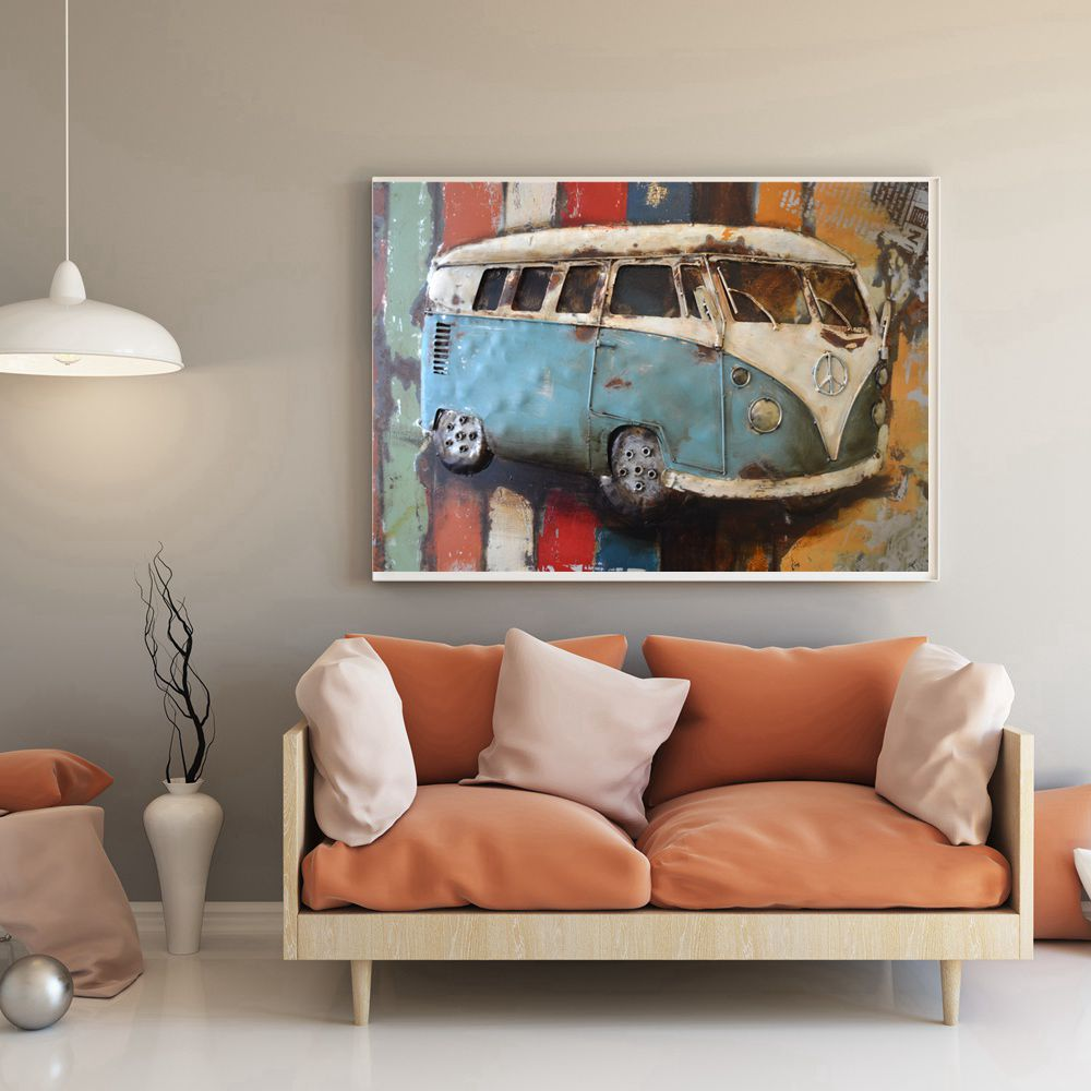 Gift Vw Volkswagen Van Oil Painting Canvas Print Vintage Car Wall Art For Office Home Decor