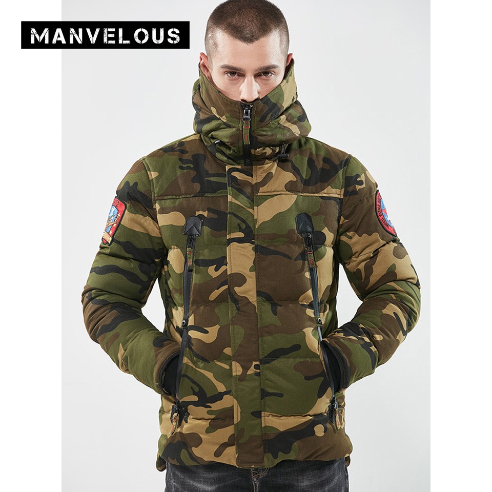Manvelous Long Parka Coat Men Fashion Casual Straight Zipper Thick Outerwear Camouflage Hooded Mens Winter Parkas Jackets Coats new men s military style casual fashion canvas outdoor camping travel hooded trench coat outerwear mens army parka long jackets
