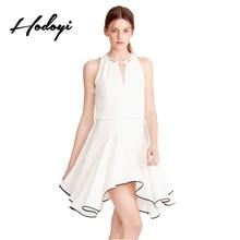 Hodoyi White Dress O-neck Cut Out Contrast Basic Collect Waist Mini Dress Ladies Elegant Casual Street Summer Vestido Female