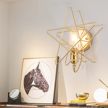 Nordic five-pointed star wall lamp corridor stair corridor bedroom bed entrance brass star background wall golden LU8221613