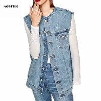 2017 frauen Großhandel Jeans Weste Sleeveless Vintage Jacke Chalecos Mujer Ripped Loch Weste Tasche Colete