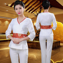Cosmetologist work clothes physiotherapy Chinese medicine health club technician take pedicure technician take suit