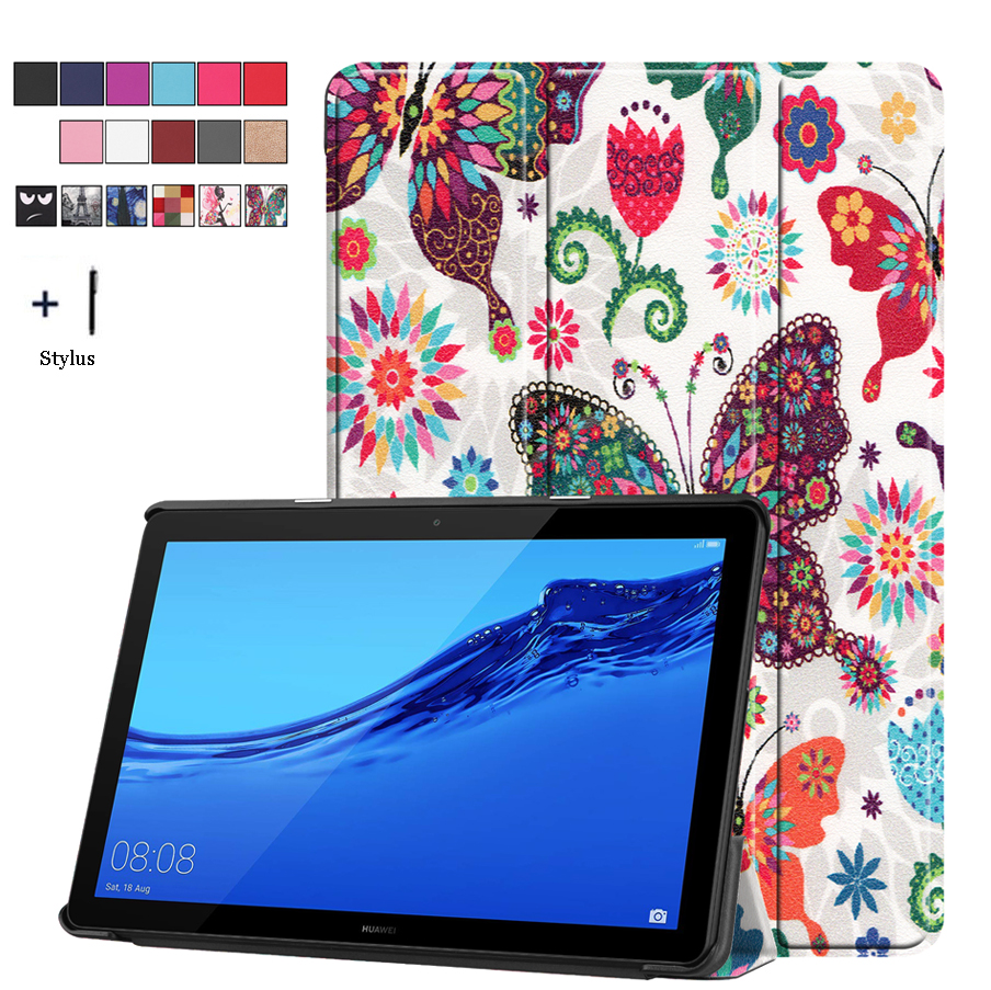 Magnet Flip Case For Huawei Mediapad T5 10 AGS2-W09 AGS2-L09 10.1'' Cover AGS2-L03 AGS2-W19 Back Stand Fundas+Stylus