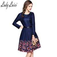 Women Office Dresses 2017 Autumn Dark Blue Sexy O Neck Long Sleeve Floral Print A Line