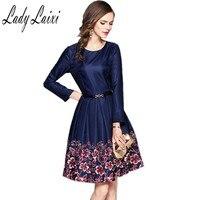 Women Office Dresses 2017 Autumn Dark Blue Sexy O Neck Long Sleeve Floral Print A Line