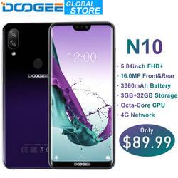 Новый DOOGEE N10 мобильного телефона 16.0MP Фронтальная камера 3360 mAh Android 8,1 4glte Восьмиядерный 3 GB Оперативная память 32 ГБ Встроенная память 5,84 дюйма