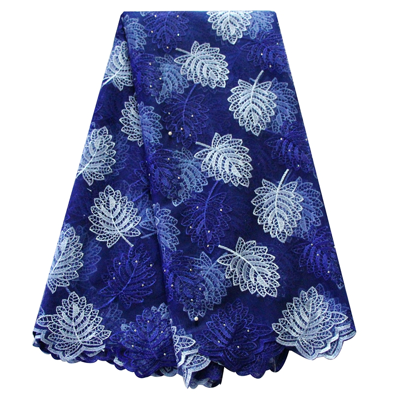 Ourwin African Lace Fabric Brads Nigerian Swiss Lace Fabric with Rhinestones 5 Yards pieces Tulle Lace