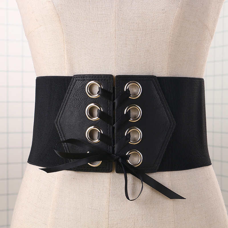 New Fashion wide Elastic belt exaggerated women's Punk Rivet Lace Tied UP Waist belt  Waistbands Clothes Decoration accessories