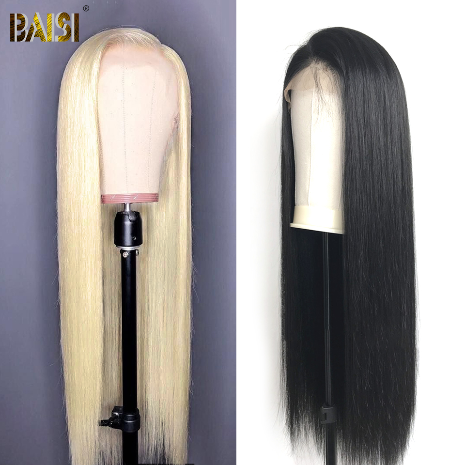 BAISI Lace Front Wigs Human Hair Wigs Straight 360 Lace Frontal Wig 613 Blonde Lace Front