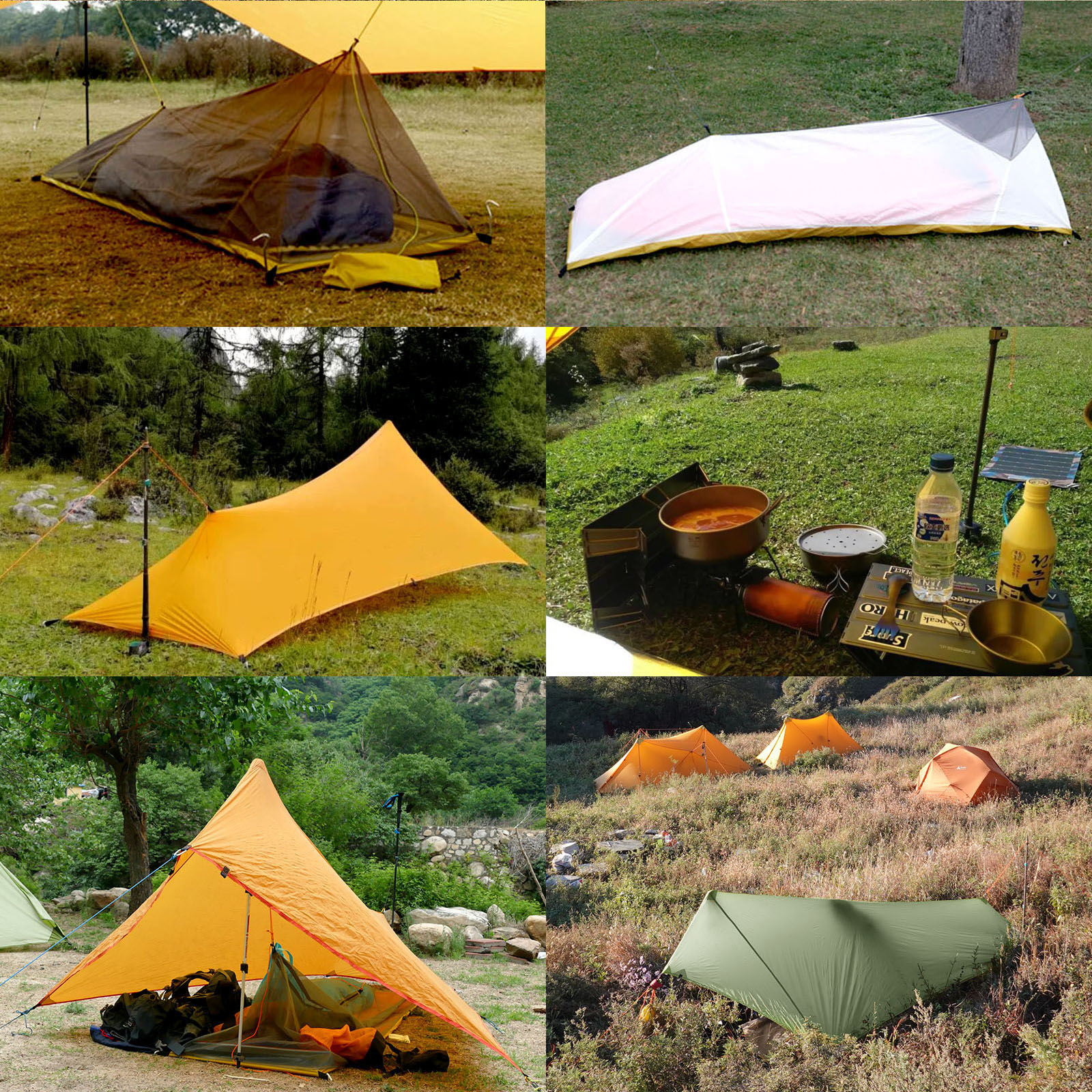 310g Ultralight Rain Fly Tent Tarp Waterproof 20D Two side Silicone Coated Nylon Camping Shelter Canopy