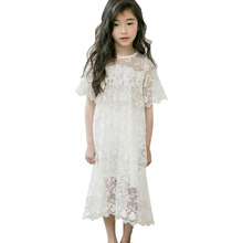 цена на Summer Girls Dress Kids Princess Party Frocks Lace Embroidery White Dress for Teens Girl 4 6 8 10 11 12 14T Children Bridesmaid