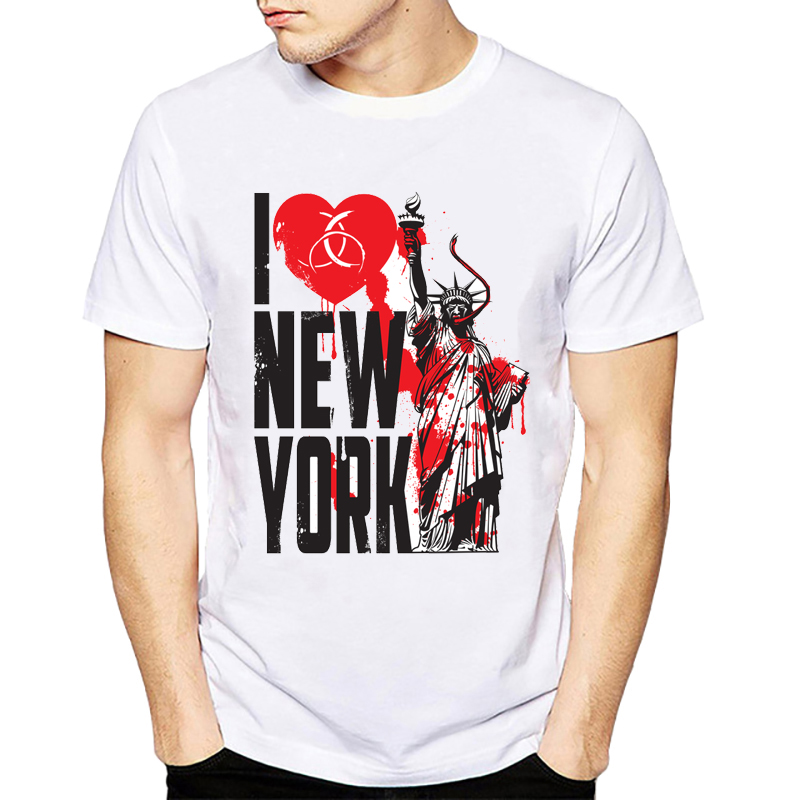 Infected City Design Men's White T-<font><b>Shirt</b></font> 2019 Casual Short Sleeve <font><b>I</b></font> <font><b>Love</b></font> <font><b>NY</b></font> New York T <font><b>Shirts</b></font> Man Clothing image