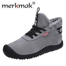 Merkmak/зимние ботинки мужская обувь высокого качества на шнуровке для мужчин, Теплые повседневные ботинки зимние мужские мягкие уличные ботильоны на меху