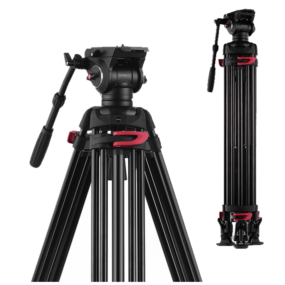 Andoer XTK-8018 Professional Photography Tripod Stand With 360 Panorama Fluid Hydraulic Bowl Head 180cm Max. Height 10kg Load