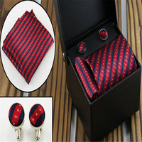 Men S Fashion Gift Tie Set Business Formal Acrylic Striped Marriage Tie D 11