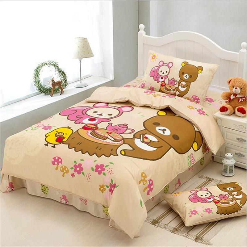 Japanese Cartoon Kawaii Bear Rilakkuma Bedding Set Twin Size Bed Sheets Pillowcase Duvet Cover Cotton Fabric Bedclothes for Kids