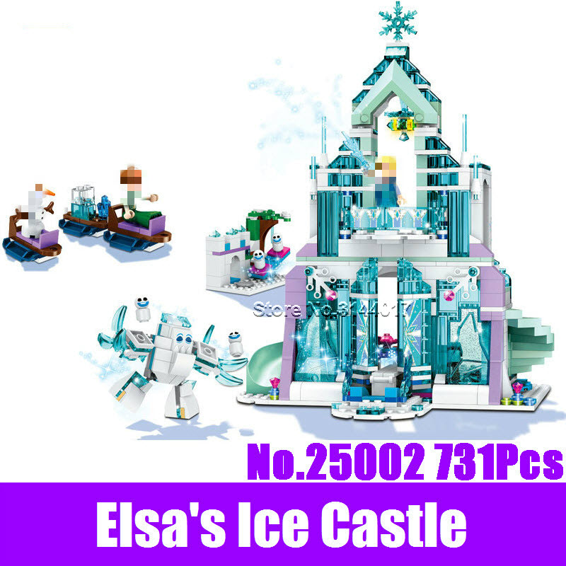 New 25002 731Pcs Girl Series Friends Elsa's Magical Sparking Ice Castle Set Building Blocks Brick Children Educational Toy 41148 туфли детские 25002 р26 кожа карамель розовый ean 4606363295402