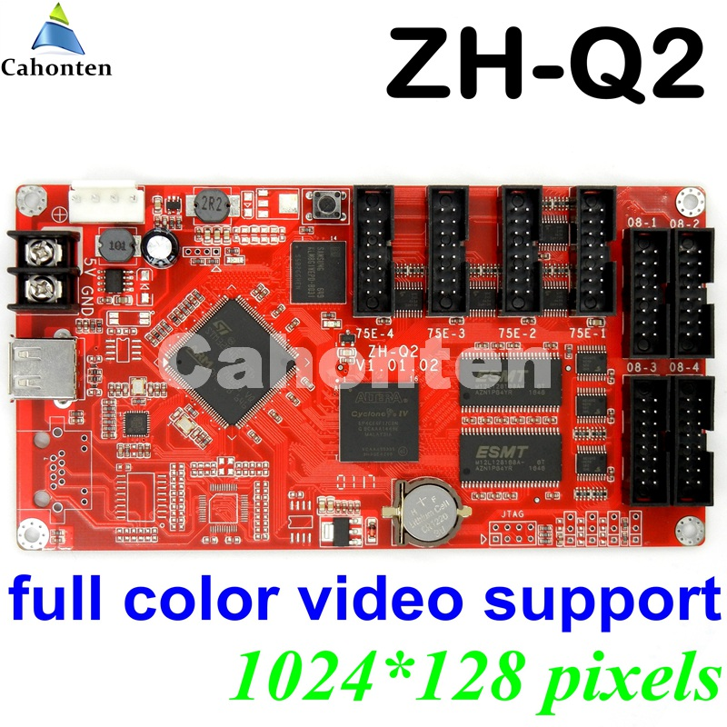ZH-Q2 USB full color led control card video support 1024*128 pixel display U disk asynchronous led controller with 4*hub75E port hw t10 network usb asynchronous full color led control card 1024 80 pixels video led controller 10 hub75port for p4 p5 p6 p10