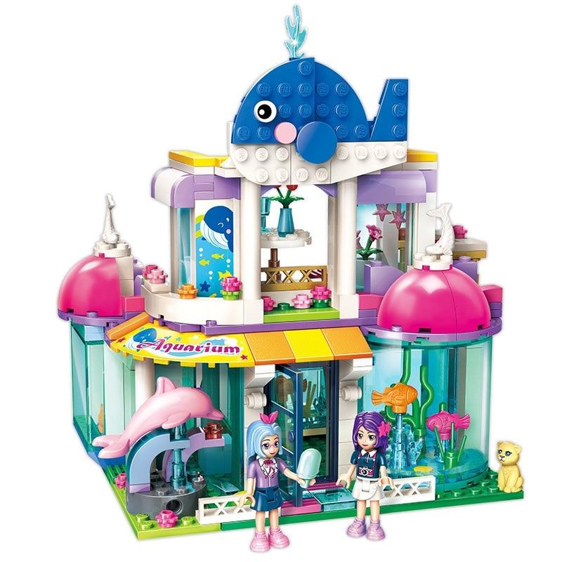 ENLIGHTEN City Girls Princess Blue Whale Aquarium Building Blocks Sets Bricks Model Kids Classic Compatible Legoings Friends enlighten city series express base car building blocks sets bricks model kids toys compatible legoings friends