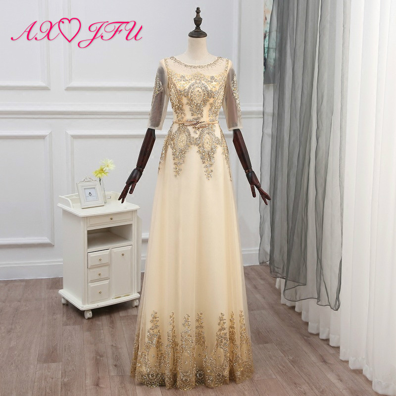 AXJFU golden lace   Evening     dress   new style banquet, long princess golden flower bride   evening     dress  , short company   dress