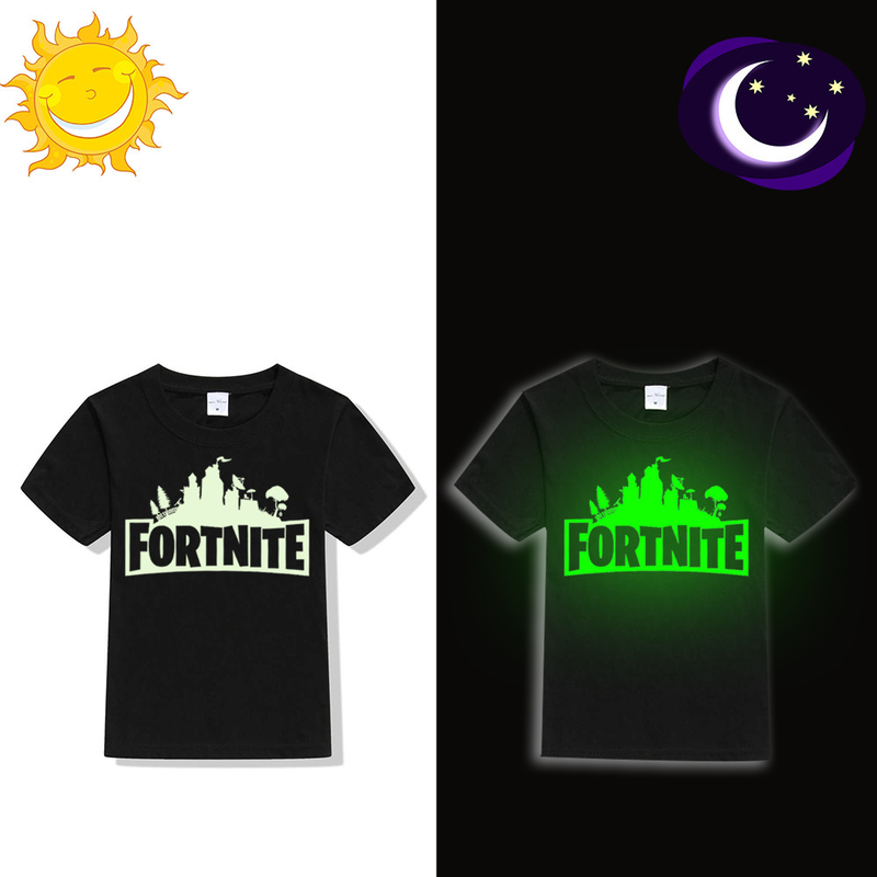Kids Tops Fashion Short-sleeved T-shirt Night Luminous Letters Printed Children's Clothes Clothes for Teenage