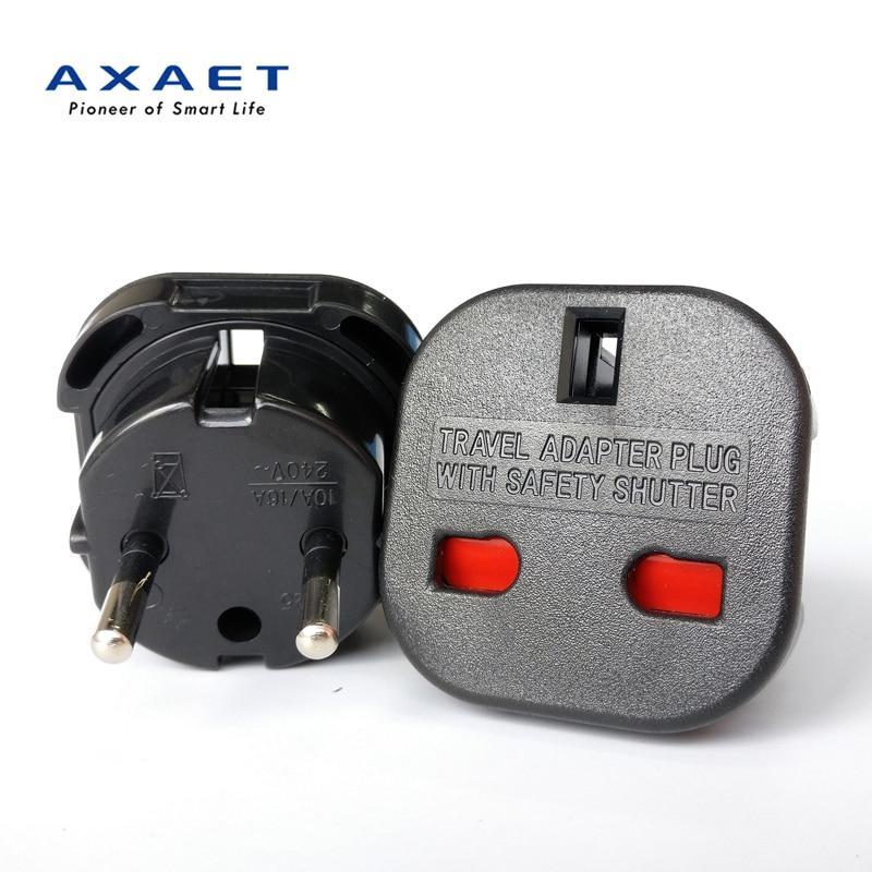 Universal Travel UK to EU Euro Plug Power Charger Adapter Converter Socket Black
