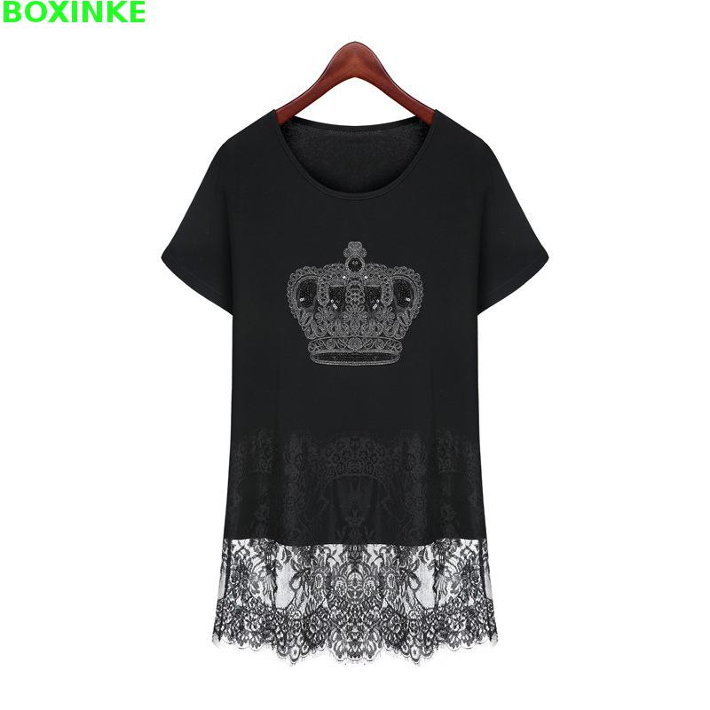 2017 Office Dress Women Summer New Europe And The To Increase Size Of Women's Slim Crown Lace Stitching Short Sleeved Knitted женское платье summer dress 2015cute o women dress