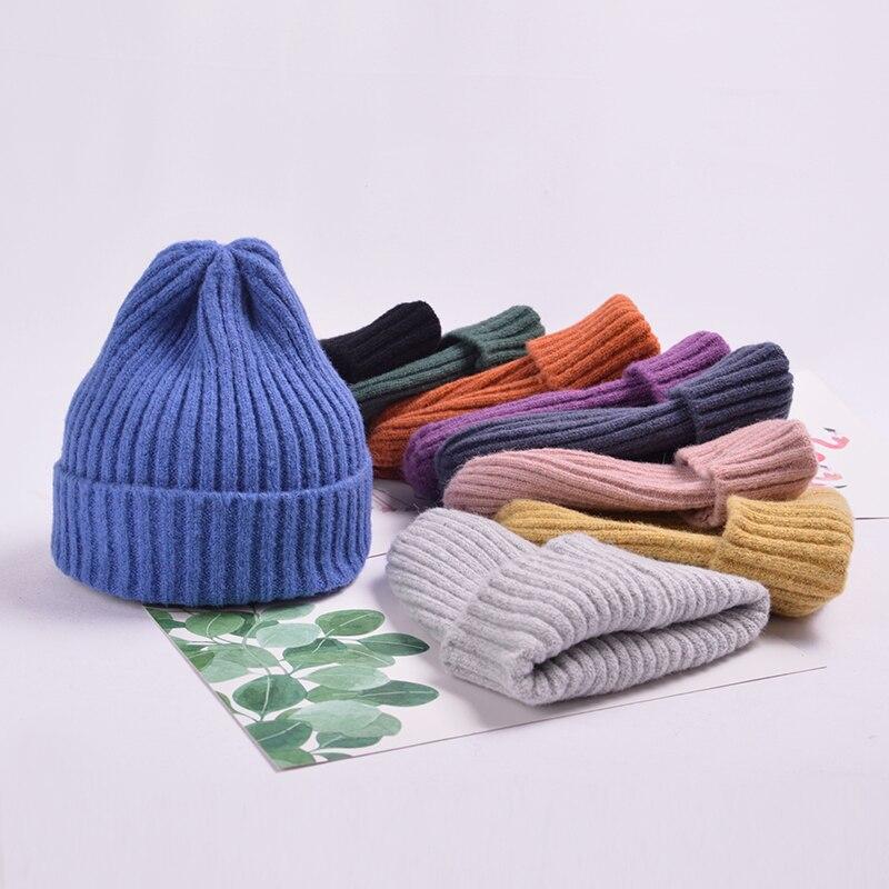 Winter Hats Caps Bonnet Beanies Knitted Autumn Stripe Cotton Women Warmer Solid for Female