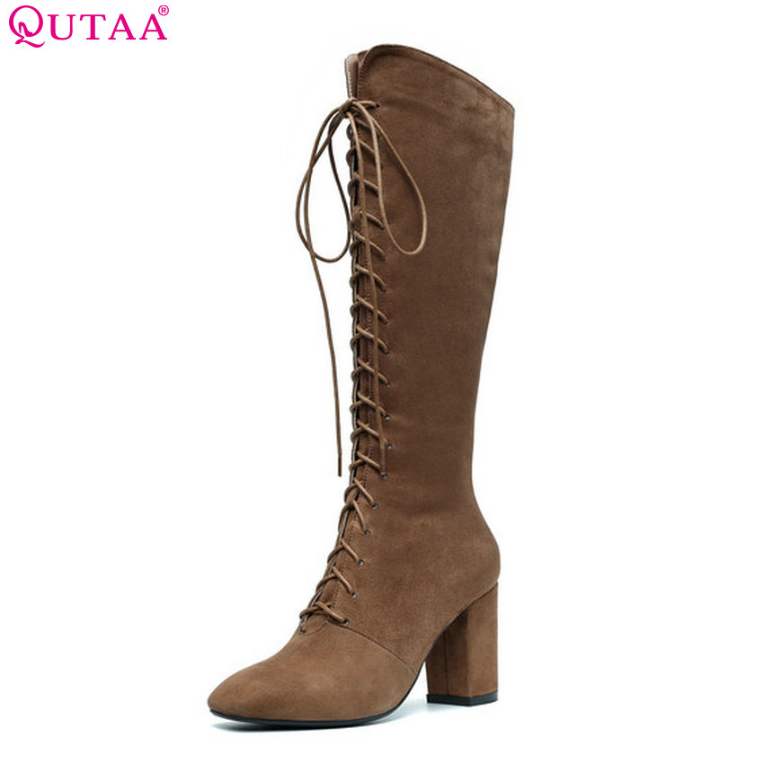 QUTAA 2019 Women Knee High Boots Kid Suede All Match Winter Shoes All Match Pointed Toe Lace Up Women Motorcycle Boots Size34-43 women s ankle boots strappy pointed toe vogue comfy all match shoes